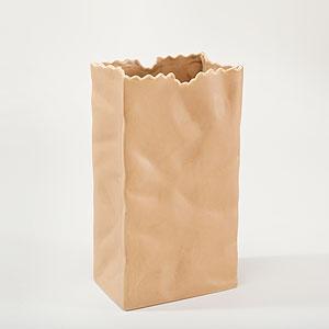 Ceramic, paper bag, vase