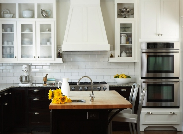 Butcher Block Island Transitional Kitchen Terracotta