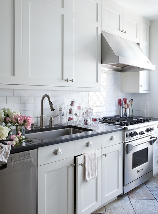 White shaker cabinets transitional kitchen lilly for Shaker style kitchen cabinets white