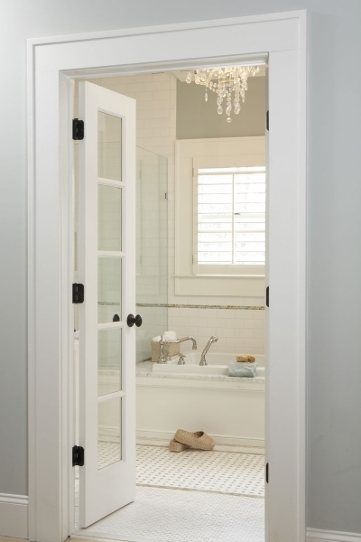 Bathroom French Doors Transitional Bathroom