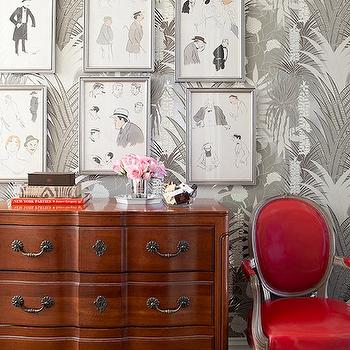 Red Louis Chair, Transitional, entrance/foyer, Lilly Bunn Interior
