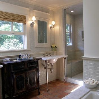Terra Cotta Bathroom Floor, Transitional, bathroom, Lori Gilder
