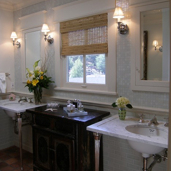 Terra Cotta Floor, Transitional, bathroom, Lori Gilder