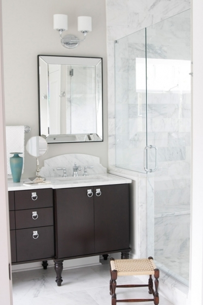 Espresso Vanity Transitional Bathroom Terracotta Studio