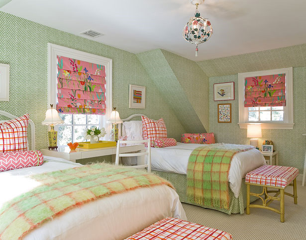 Pink and Green Girl\'s Room - Transitional - girl\'s room - Katie ...