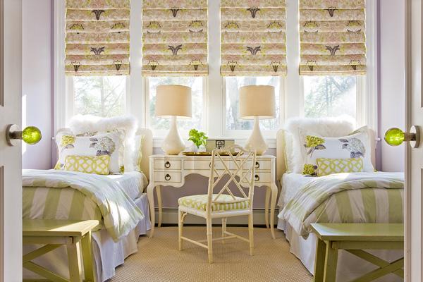 Shared Girls Room, Cottage, girl's room, Katie Rosenfeld Design