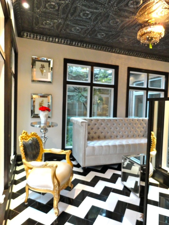 Chevron Floor Hollywood Regency Living Room Liv Chic Interior Design