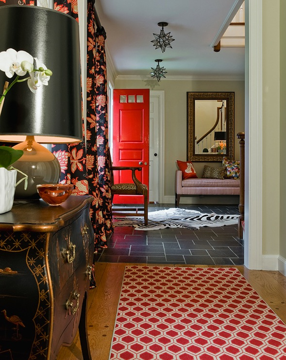 Red Foyer Rug : Red front door eclectic entrance foyer katie