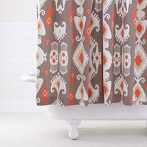 Grey/Coral Ikat Shower Curtain, Bathroom| Bed & Bath, World Market