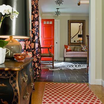 Red Front Door, Eclectic, entrance/foyer, Katie Rosenfeld Design