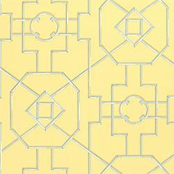 Thibaut Spring Lake, Bamboo Lattice, Wallpaper, Yellow