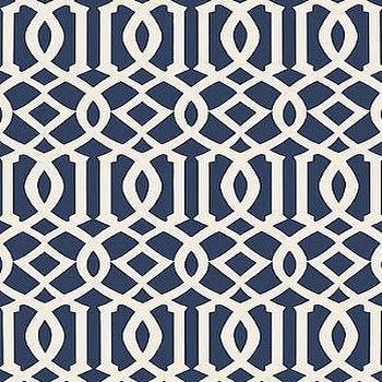 DecoratorsBest, Detail1, Sch 5005801, Imperial Trellis II, Ivory / Navy, Wallpaper, DecoratorsBest