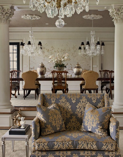 Gray Damask Sofa French Dining Room Luxe Interiors