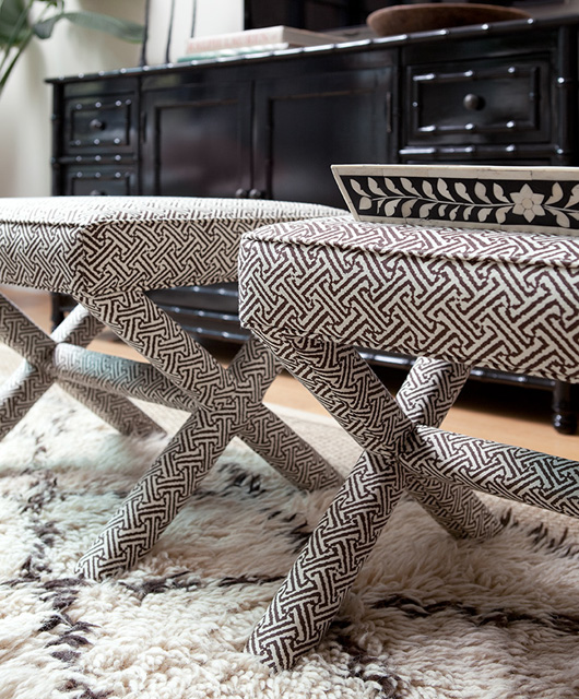 Gorgeous China Seas Java Java Fabric Upholstered X Bench Stools, Moroccan Shag  Rug And Glossy Black Faux Bamboo Media Cabinet.