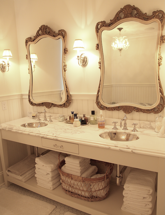 Marble double vanity french bathroom angie gren for Vanity mirrors for bathroom ideas