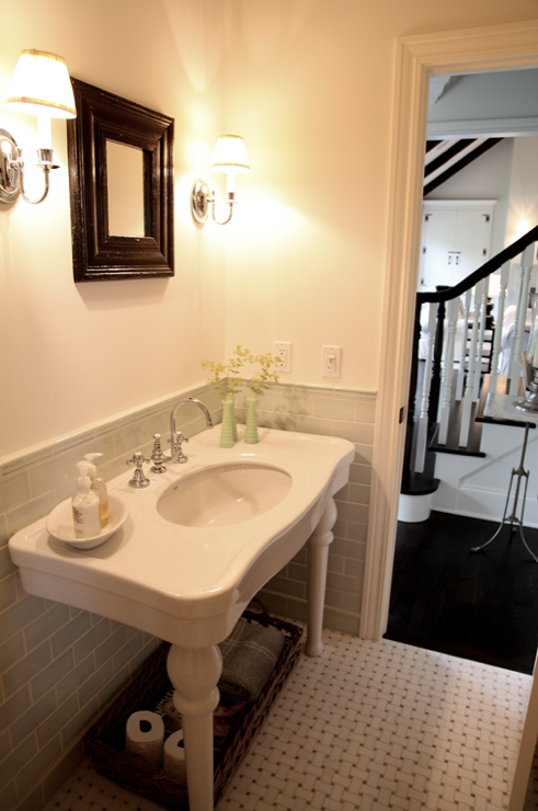 Parisian Pedestal Sink Transitional Bathroom Angie