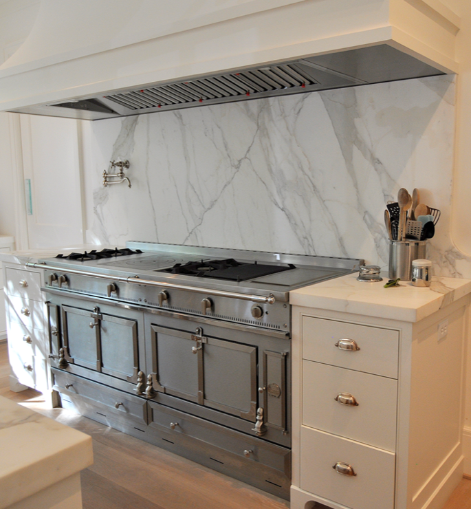 Gorgeous La Cornue Serie Centenaire 100th Anniversary Range, Pot Filler,  Wood Panel Range Hood And Marble Backsplash.