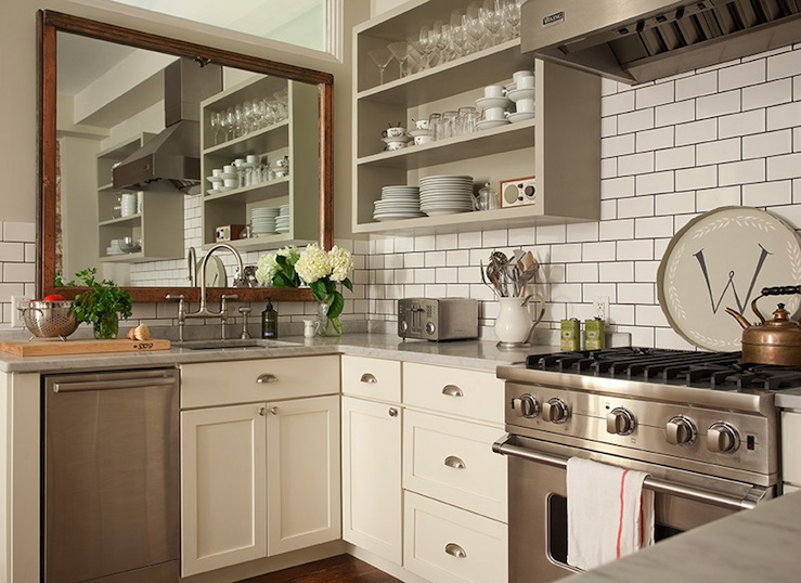 Kitchen with open shelving transitional kitchen bear for Antique ivory kitchen cabinets