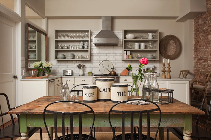Farmhouse dining table cottage kitchen jenny wolf interiors for Farmhouse kitchen design pictures