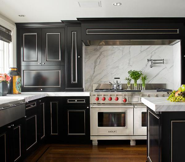 Black and white kitchen transitional kitchen for Black and white kitchen cabinet designs