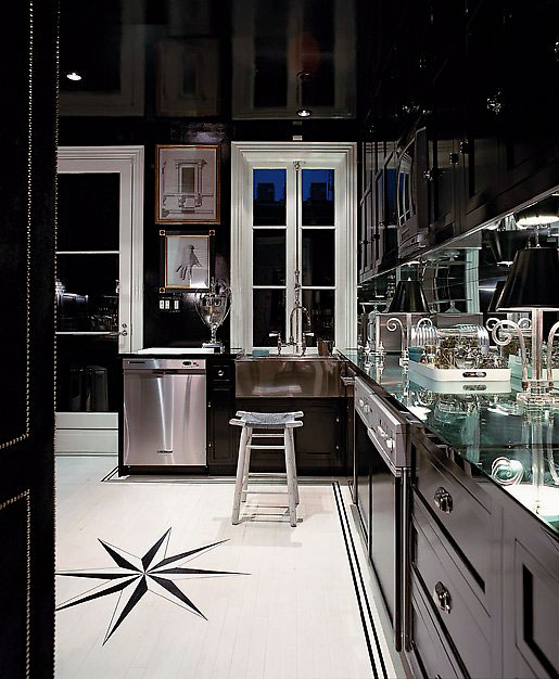 glamorous black glossy kitchen with black kitchen cabinets mirrored countertop backsplash - Black Kitchen Cabinets Pictures