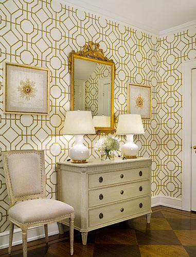 Foyer Wallpaper Designs : Cowtan and tout bamboo wallpaper french entrance foyer