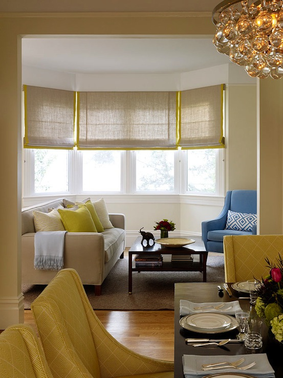 Gray and yellow roman shades contemporary living room for Living room window blinds