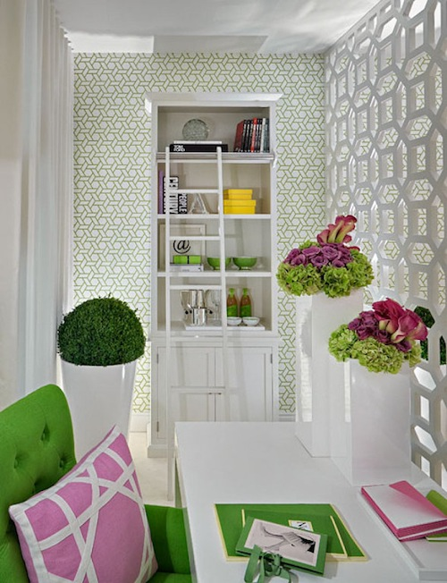 Fantastic Office Space With Manuel Canovas Trellis Wallpaper White Lattice Room Divider Glossy White Lacquer Desk Granny Smith Apple Green Tufted Chair