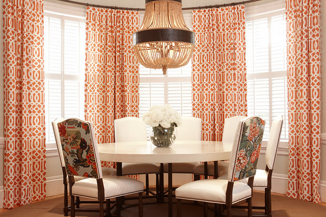 Burnt orange curtains french dining room for Orange and grey dining room