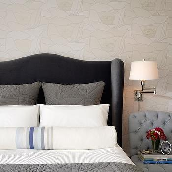 Dark Gray Velvet Headboard, Transitional, bedroom, Jute interior Design