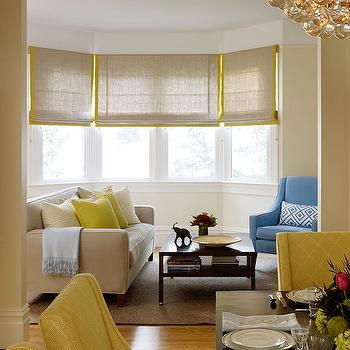 Yellow And Blue Roman Shades Design Ideas