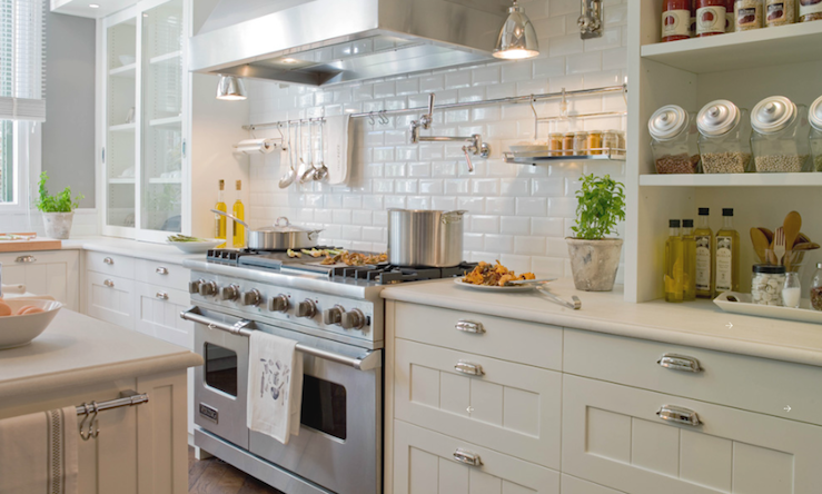 Beveled Subway Tile Backsplash Transitional kitchen Deulonder