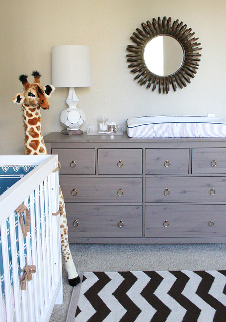 Beautiful Boys Nursery Design With West Elm Ribbon Mirror Ikea Hemnes 8 Drawer Fresser Zig Zag Rug Terracotta Lamp Gentle Giant
