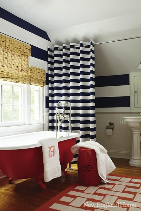 Horizontal striped shower curtain transitional Navy blue and white bathroom