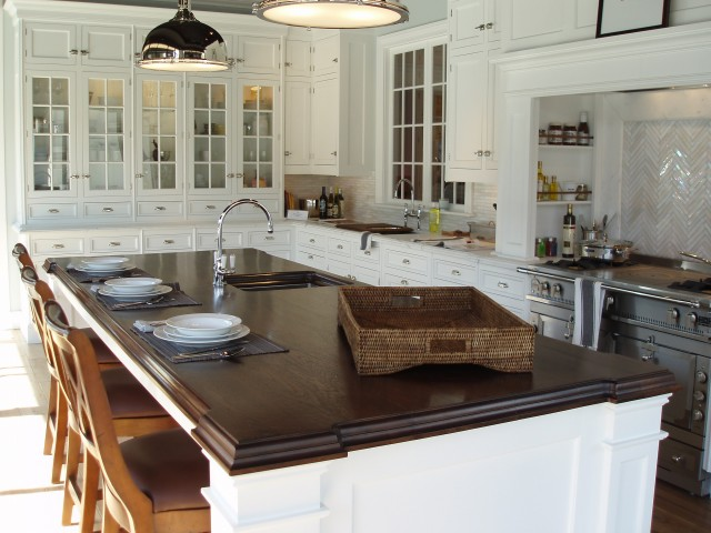 White Kitchen Island With Walnut Butcher Block Countertop : Beveled Butcher Block Countertop - Transitional - kitchen