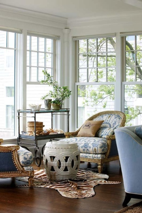 Gorgeous Living Room With Rope Garden Stool, Zebra Cowhide Rug, Vintage Bar  Cart And French Chairs Upholstered In Front  Blue Ikat Fabric U0026 Back   Blue  ...