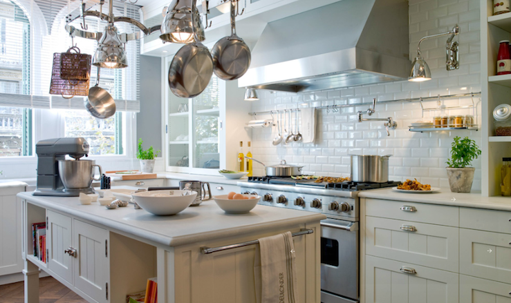 gray walls paint color, creamy white kitchen cabinets & kitchen