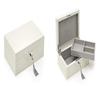 Lock White Lacquer Jewelry Box