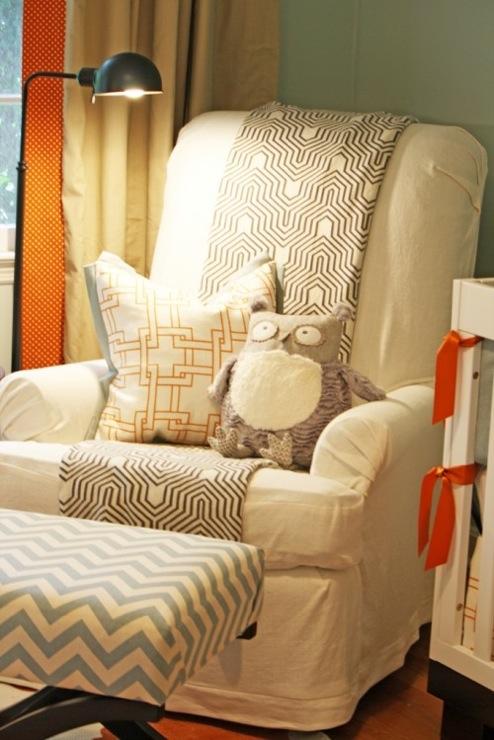 Slipcovered Nursery Glider, Contemporary, nursery, Sherwin Williams Rain Washed, Charm Home Design