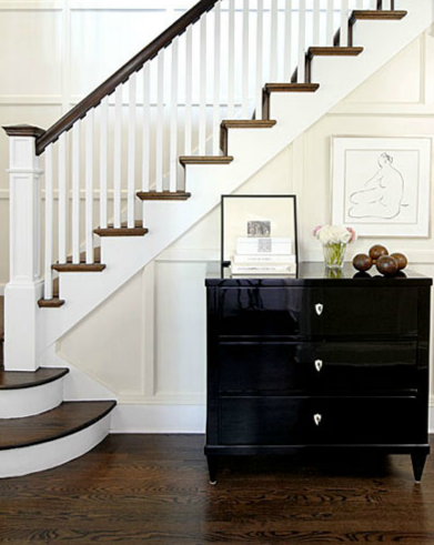 High gloss chest transitional entrance foyer kwinter for Foyer staircase ideas