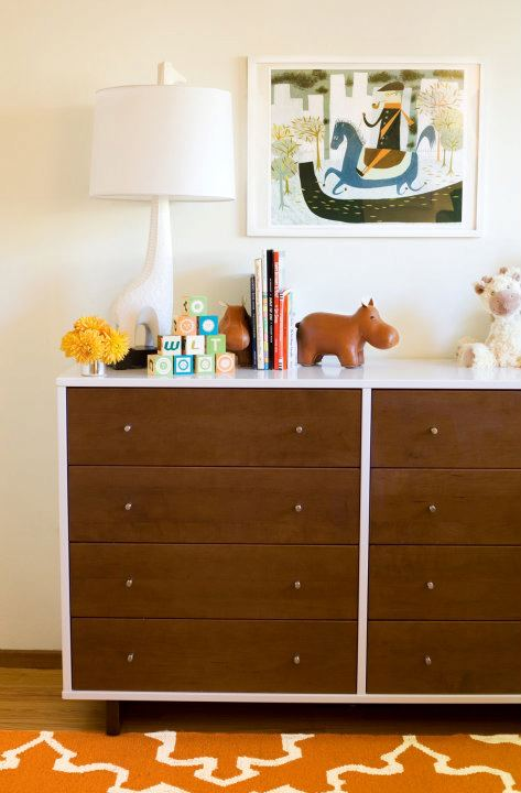 Perfect Fun Boyu0027s Nursery Design With West Elm Iznik Dhurrie Rug In Sorrel, Modern  Two Tone Dresser, Jonathan Adler Giraffe Lamp And Wood Hippo.