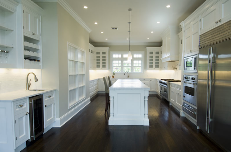 White Kitchen Cabinets with Dark Wood Floors Transitional kitchen Bakes