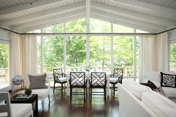 Floor to ceiling windows transitional dining room Lake house windows