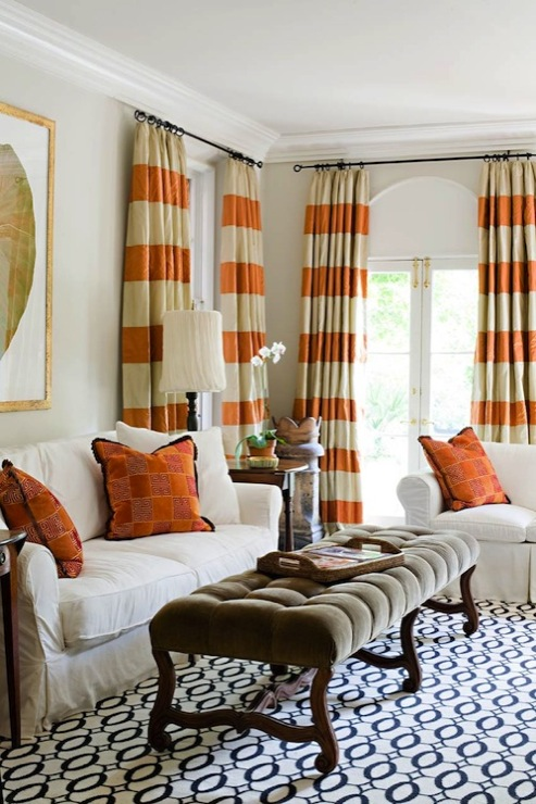 Orange curtains contemporary living room elle decor Bold black and white striped curtains