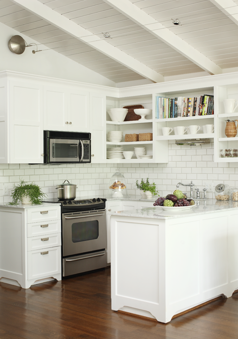 Small white kitchens design ideas for Small kitchen shelves
