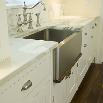 Stainless steel apron sink design ideas for Kitchen colors with white cabinets with brushed nickel wall art
