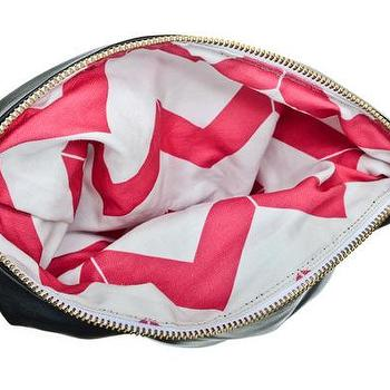 Hammocks & High Tea Chevron Reversible Black Clutch