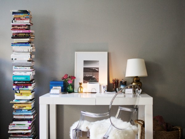 So Haute Nicole Gibbons   Gorgeous gray walls paint color with West Elm Parsons  Desk   White  Philippe Starck Ghost Chair  Ikea rens PeltEbay lamp and. Ghost Chair Ikea   Contemporary   den library office   Teen Vogue