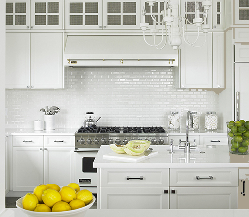 Gorgeous Monochromatic Kitchen Design With White Shaker Kitchen Cabinets U0026  Kitchen Island, Marble Countertops, Glossy White Subway Tiles Backsplash,  ... Part 42