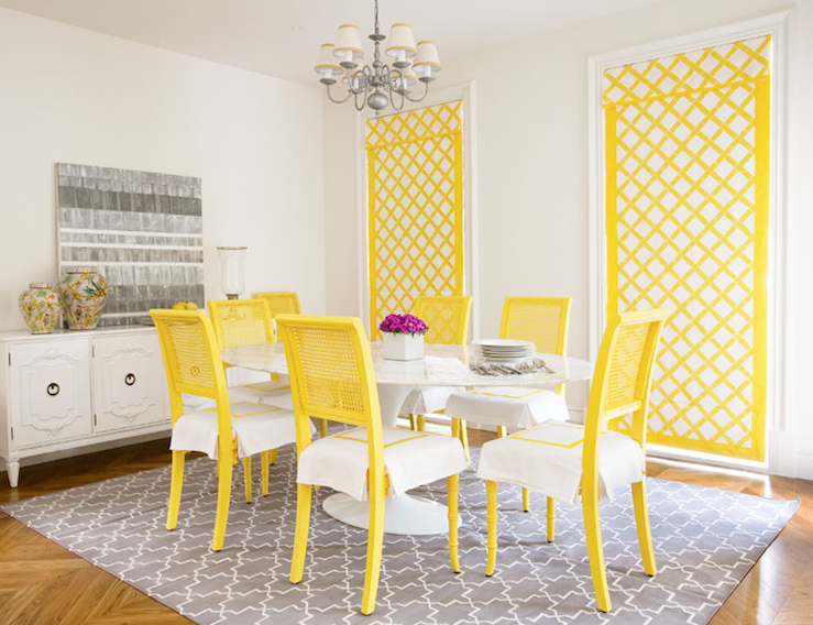 Yellow and gray room contemporary dining room diane for Yellow dining room ideas